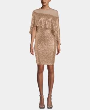 Betsy & Adam Sequin & Mesh Overlay Dress