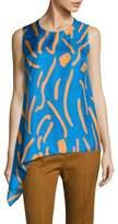 Diane von Furstenberg Asymmetrical Draped Silk Top