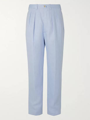 Giuliva Heritage Collection Pleated Herringbone Linen Suit Trousers