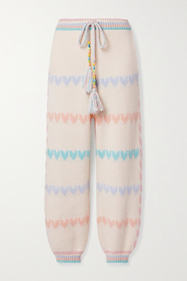 LoveShackFancy Chabela Intarsia Cotton-blend Track Pants - Cream