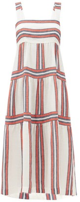 Three Graces London Kitty Square-neck Striped Linen Dress - Red Stripe