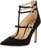 Sam Edelman Hayes T-Strap Suede High Pump, Black