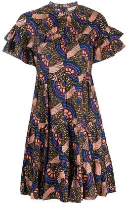 Ulla Johnson abstract print tiered style dress