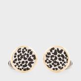 Paul Smith Men's Gold Leopardskin Pattern Circular Cufflinks