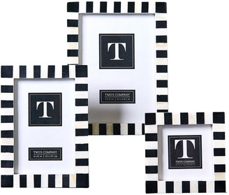 Twos Company Two's Company Striped Set Of 3 B&W Frame