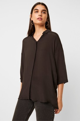 French Connection Etta Silk Mix Cropped Sleeve Shirt