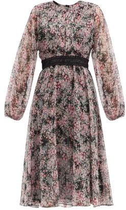 Giambattista Valli Contrast-waist Floral-print Silk-georgette Dress - Green Print