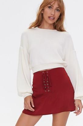 Forever 21 Lace-Up Satin Mini Skirt