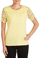 Allison Daley Petites Wide Crew-Neck Solid Lace Trim Front Yoke & Sleeve Knit Top