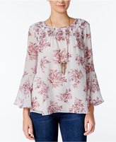 Jessica Simpson Wilma Printed Bell-Sleeve Top