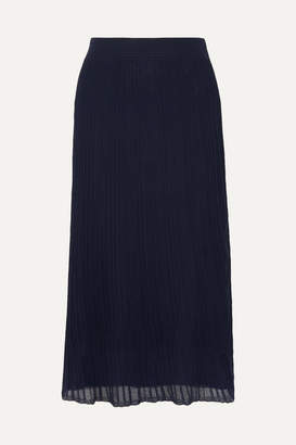 Vince Ribbed Stretch-knit Midi Skirt - Navy