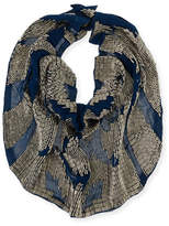 Mignonne Gavigan Le Charlot Ikat Beaded Silk Chiffon Scarf Necklace, Navy