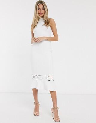 Lipsy flippy hem halterneck dress in white