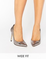 Faith Wide Fit Cliff Pewter Metallic Cut Out Court Shoes