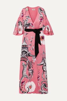 Temperley London Euphoria Printed Satin-crepe Wrap Maxi Dress - Pink