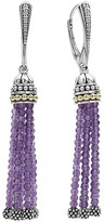Lagos 18K Gold and Sterling Silver Caviar Amethyst Tassel Earrings