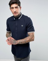 Fred Perry Short Sleeve Shirt Twin Tipped Waffle in Navy