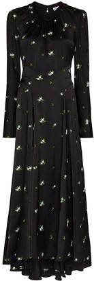Paco Rabanne Floral-Print Long-Sleeve Long Dress