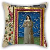 elegancebeauty 16 x 16 inch / 40 by 40 cm oil painting Guglielmo Giraldi (Italian, active 1445 - 1489) - Saint Catherine of Bologna pillowcover ,2 sides ornament and gift to deck chair,family,wedding,bf,kids boys,father
