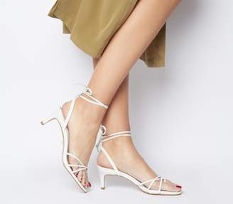 Office Milo Strappy Back Toe Loop Sandals White Leather