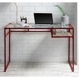 Stak Reversible Glass Desk Ebern Designs Color: Red