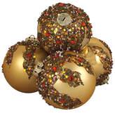 Asstd National Brand 4ct Gold Glitter Sequin Beaded Shatterproof Christmas Ball Ornaments 3.25 80mm
