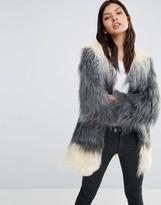 Little Mistress Longline Ombre Faux Fur Coat