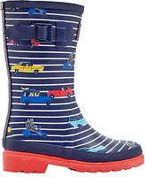 Joules Little Joule Children's Stripe Cars Wellington Boots, Navy