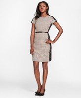 Brooks Brothers Lace-Trimmed Checked Wool-Blend Twill Dress