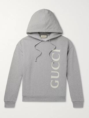 Gucci Logo-Print Melange Loopback Cotton-Jersey Hoodie