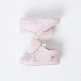 River Island Baby Pink bunny ear pom pom trainers