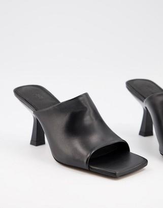 ASOS DESIGN Nigella leather heeled mules in black