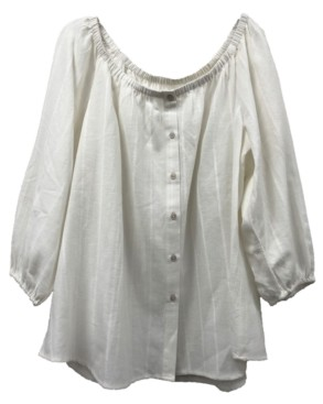 Style&Co. Style & Co Plus Size Striped Button-Down Off-The-Shoulder Top, Created for Macy's