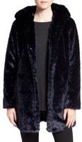 Sam Edelman Women's Hooded Faux Fur Coat