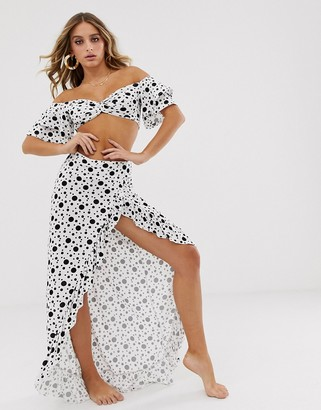 Asos Design DESIGN jersey beach wrap front maxi skirt with ruffle in mono polka dot two-piece