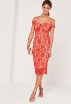 Missguided Bardot Lace Midi Dress Red