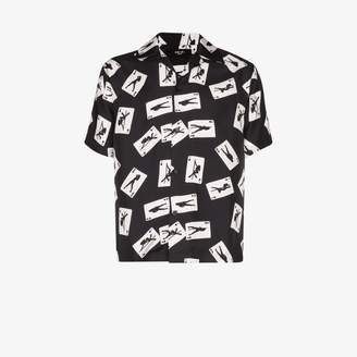 Amiri card print short sleeve silk shirt