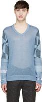 Junya Watanabe Blue Knit Patchwork Sweater