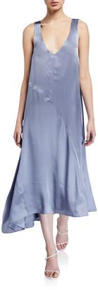 Vince Double V-Neck Asymmetric Seamed Slip Dress
