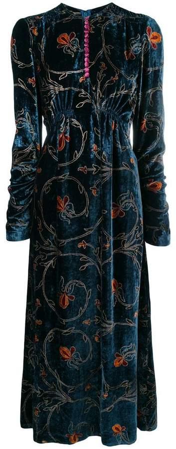 Etro longsleeved pleated dress