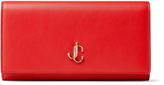 Jimmy Choo MARTINA Royal Red Smooth Calf Leather Wallet with JC Emblem
