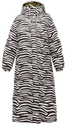 0 Moncler Genius Richard Quinn - Zebra-print Down-filled Hooded Coat - Black White