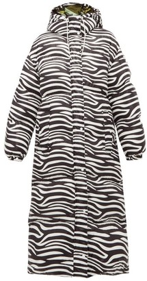 Moncler 0 Genius Richard Quinn - Zebra-print Down-filled Hooded Coat - Womens - Black White