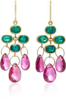 "Mallary Marks Trapeze 18K Gold"" Emerald and Rubellite Briolette Earrings"