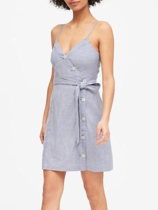 Banana Republic Petite Linen-Cotton Button-Front Mini Dress
