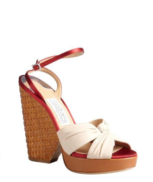 Salvatore Ferragamo ivory leather and ruby satin woven heel wedge sandals