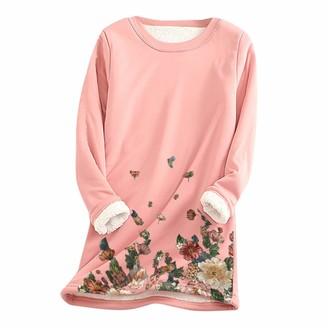 jieGorge Blouse for Women Women Floral Print Thick Fleece Sweatshirt Winter Warm O-Neck Underwear Top