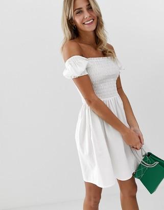 Asos Design DESIGN shirred bodice square neck cotton mini smock dress-White