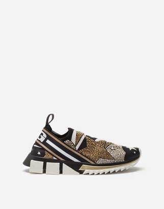 Dolce & Gabbana Comet Print Sorrento Sneakers In Stretch Knit Fabric With Mini Rhinestones