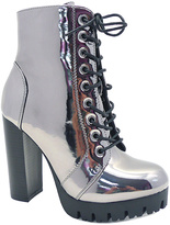 Wild Diva Pewter Veronica Lace-Up Boot